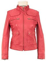 Alpakaandmore Women Pink Biker Lamb Nappa Leather Jacket (Large) [Apparel] - $285.12