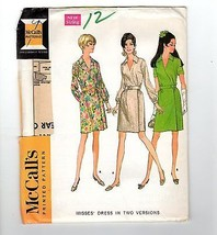 Vtg McCalls #9236 1968 Pattern Wrap Dress Factory Folded Uncut 12 Bust 34 - $12.38