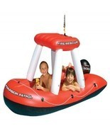 Inflatable Fire boat Squirter Pool Toy Floating Water Rescue Patrol Swim - $71.78