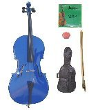 Lucky Gifts 1/16 Size Blue Cello,Bag,Bow+Rosin+Extra Strings for Replacement