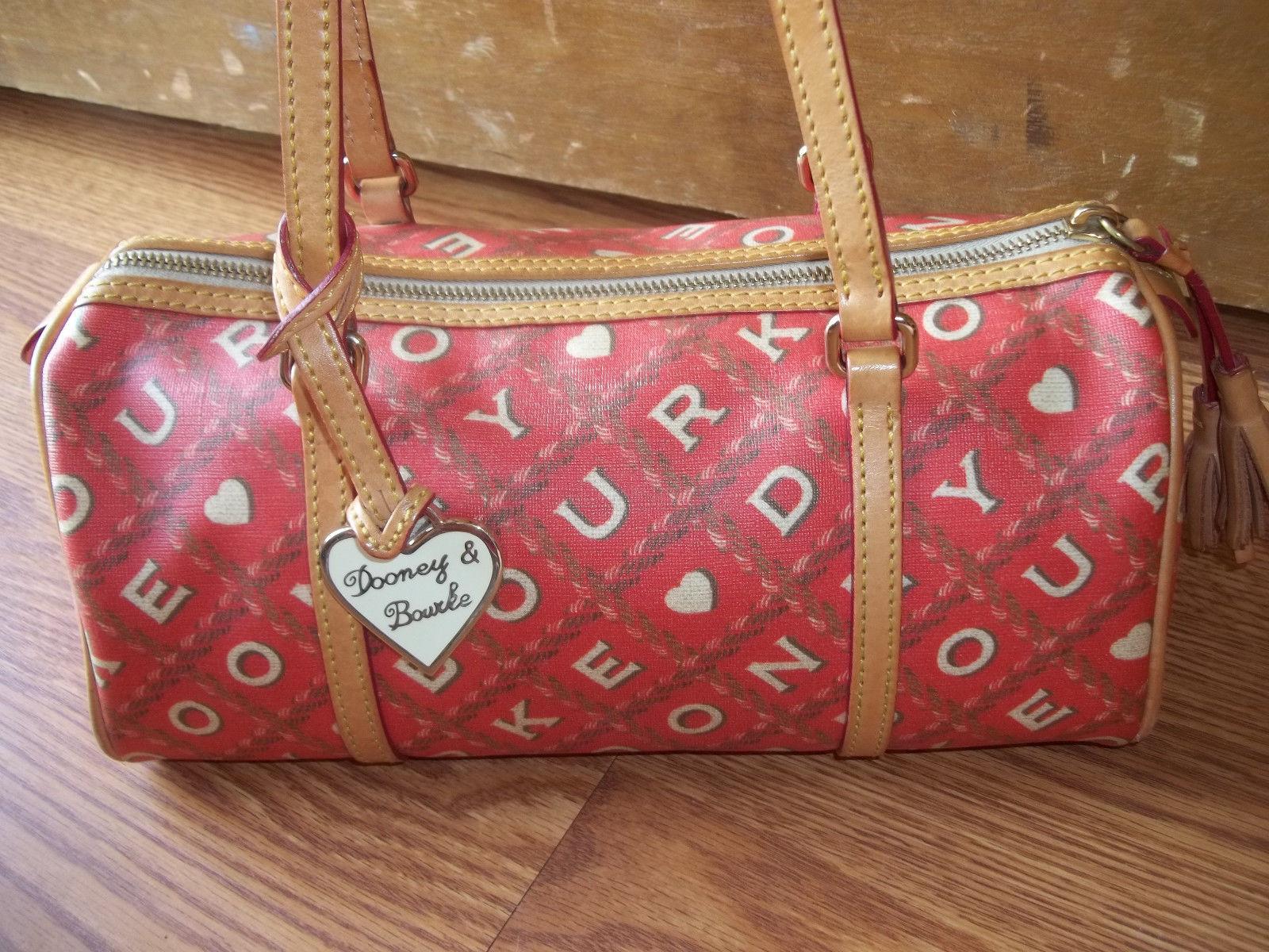 Dooney & Bourke Red Crossword Barrel Bag Handbag
