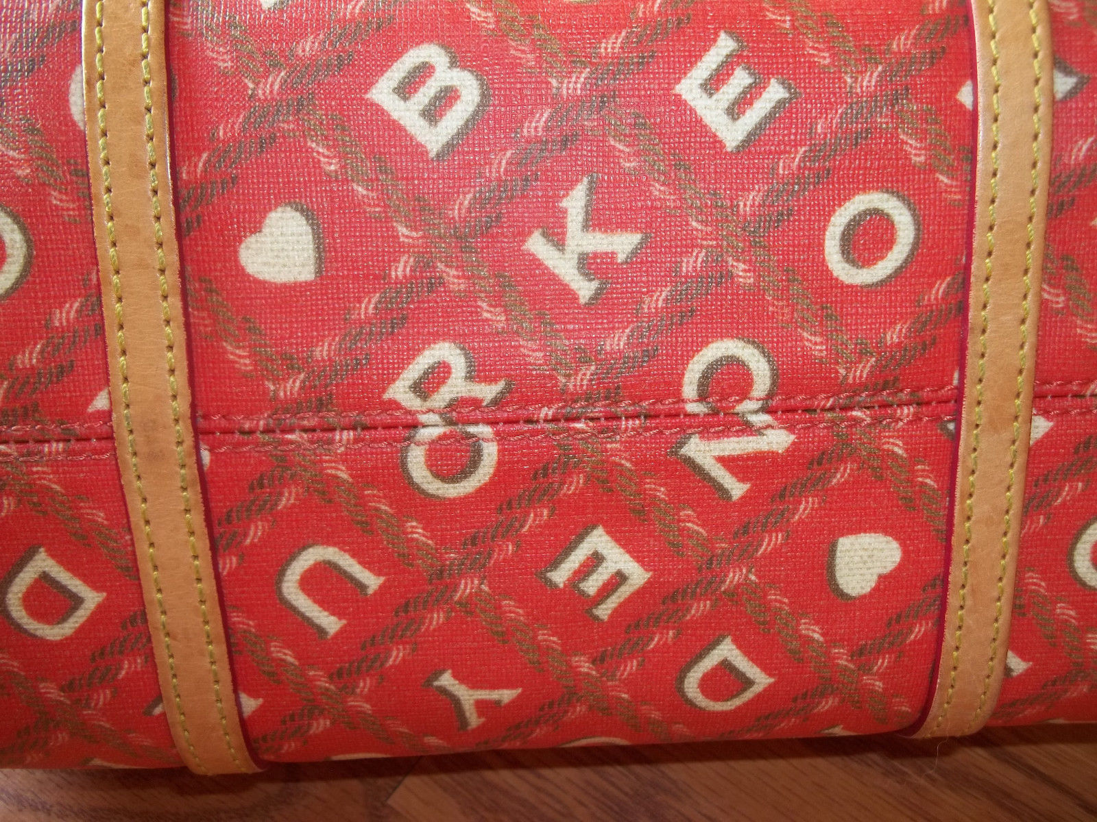 Dooney & Bourke Red Crossword Barrel Bag Handbag image 6