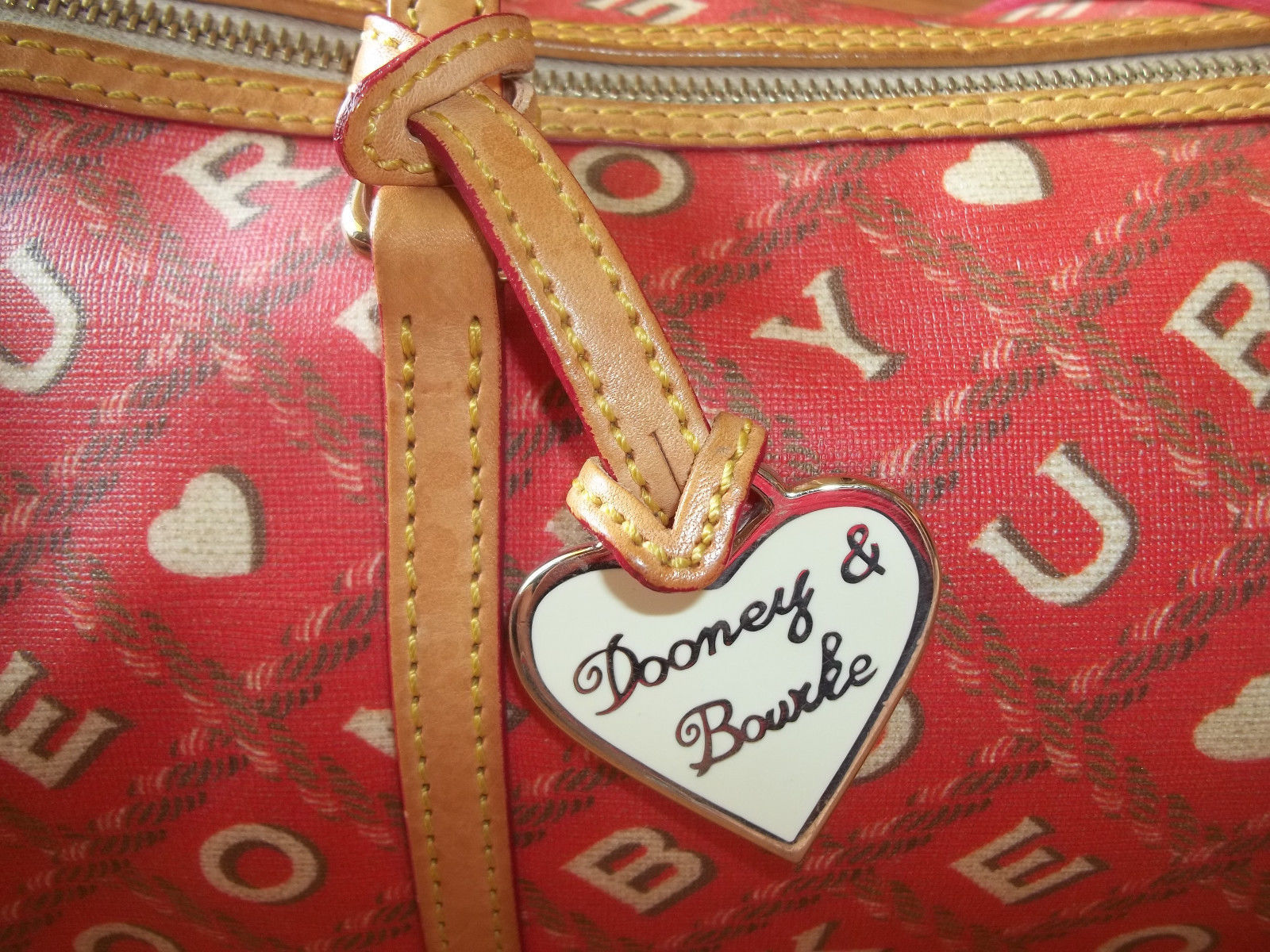 Dooney & Bourke Red Crossword Barrel Bag Handbag image 8