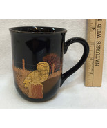 Otagiri Coffee Cup Mug Gold Owl Design Black Fence Post Trees Wheat 10 Oz - $10.88