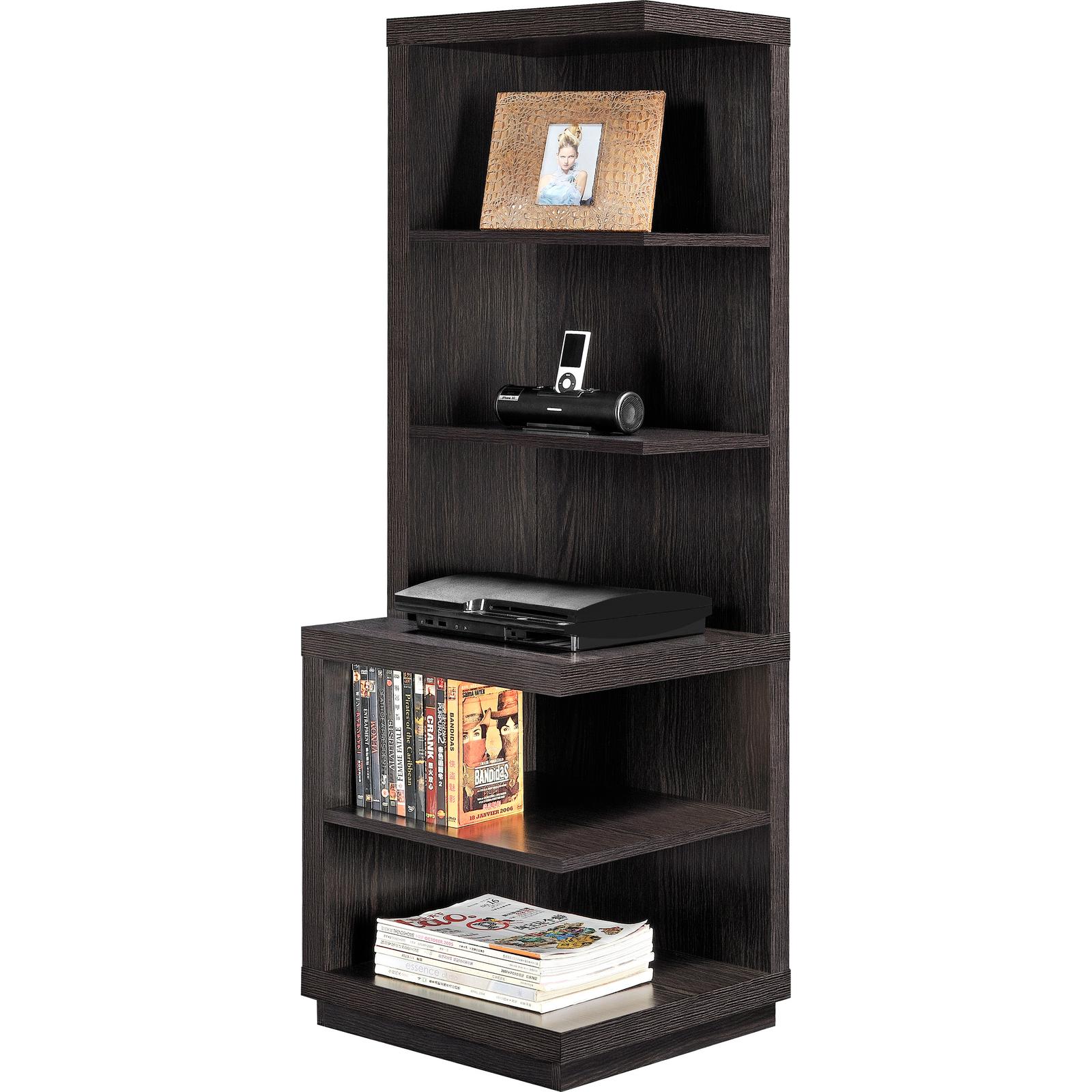 Corner Shelf Bookcase Brown Wood 5 Shelves Book Storage Display Home Furniture Bookcases