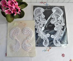 1980s pair nip lace appliques white pearls k thumb200
