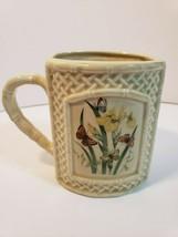 Enesco Butterfly Garden Trellis Coffee Mug Cup Japan 1978 Bamboo Handle - $20.79