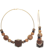 Gold Brown Wooden Large Beaded Round Hoop Earrings - £6.75 GBP