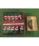 NEW Set Of 10 Christmas Pickle With Santa Hat Blow Mold Lights & Pickle ... - $14.84