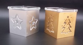 2 Vintage Glass Votive Candle Holders with Metal Star and Christmas Tree... - $5.95