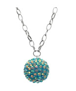 Blue Beaded Iridescent Fireball Drop Chain Char... - $11.60