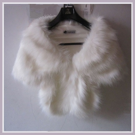 Fluffy White Long Hair Sable Faux Fur Stole Cape with Collar And Hidden Fastener