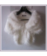 Fluffy White Long Hair Sable Faux Fur Stole Cape with Collar And Hidden ... - $56.95