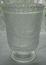 Vintage Fenton Glass Currier and Ives Vase Celery Spooner Farm Frosted Satin  - $13.98