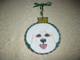 BICHON FRISE HAND PAINTED WOOD ORNAMENT WITH TRIMS BY SMDS. - $14.50