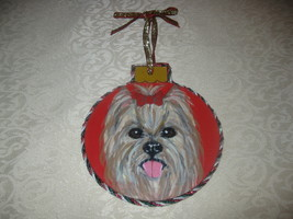 YORKSHIRE TERRIER HAND PAINTED WOOD ORNAMENT WITH TRIMS BY SMDS. - $14.50