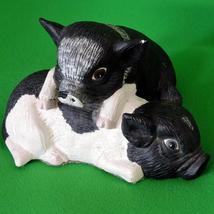"""Vintage 8"""" Black And White Pigs Figurine - 2 cu... - $1.95"""
