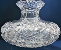 American Brilliant Period Hand Cut Glass Flower Center Antique Abp Center Piece - $303.53