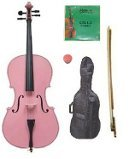 Crystalcello 1/16 Size Pink Cello,Bag,Bow+Rosin+Extra Strings for Replacement