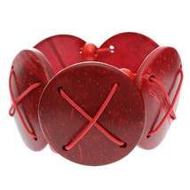 Red Beaded Coconut Wooden Stretch Bracelet - $9.16
