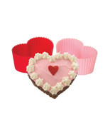 Pink heart cupcake silicone baking cups molds liners set of 8 pink red c... - $16.95