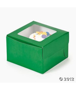Green Single Cupcake Boxes 12 Pk Bakery Solid Color Window Boxes Baking ... - $14.95
