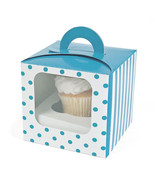 Polka Dot Cupcake Boxes 12 PK Window Bakery Designer Cupcakes Holder Par... - $15.95