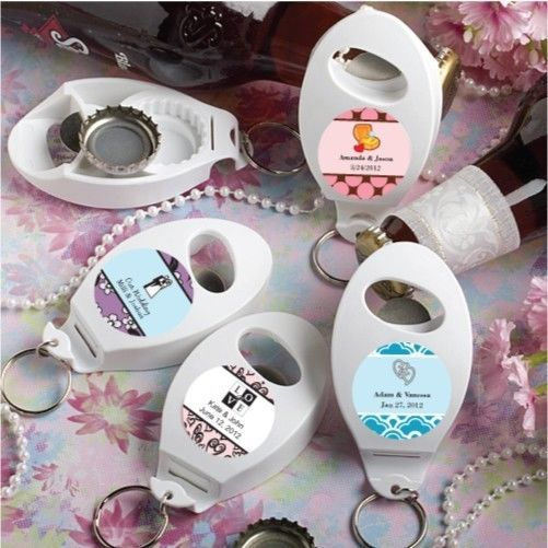 Primary image for 100 Personalized Wedding Bottle Openers & Key Chain Favors Reception Party Gifts