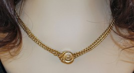 "Vintage Double-Chain Gold Tone Necklace Slide 19.5"" Long Middle 1970's C... - $5.89"