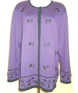 DRESSBARN Woman Sweater Cardigan PURPLE KNIT Black Floral Embroidery Sz ... - $19.39