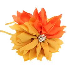 Yellow Orange Centered Flower Fabric Headband - $9.99
