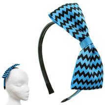 Blue Black Zigzag Chevron Ribbon Bow Headband - $8.18