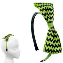 Green Black Zigzag Chevron Ribbon Bow Headband - $8.18