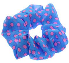 Blue Pink Polka Dot Stretch Hair Scrunchie - $6.38
