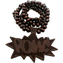 Dark Brown Thread Comic Pow Wooden Bead Necklace - $13.75