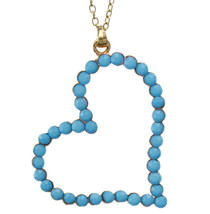 Blue Beaded Heart Pendant Chain Necklace - $11.99