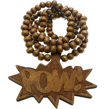 Brown Thread Comic Pow Wooden Bead Necklace - $13.75
