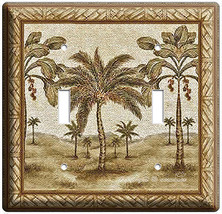 CLASSIC FLORIDA PALM TREES DOUBLE LIGHT SWITCH WALL PLATE REST AREA DECO... - $10.79