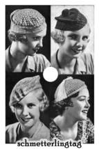 1934 Millinery Patterns 3 Crochet Berets Hat Prohibition Era Caps Knit Milliner - $7.53