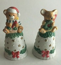 "Vintage Ceramic Bell His Her Mouse Figurine 5""Tall Christmas Ornament  - $17.18"