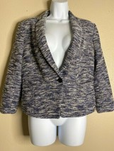 Ann Taylor Womens Size 10 Blue Woven Jacket Single Button  - $13.86