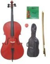 Merano 1/8 Size Red Cello,Bag,Bow+Rosin+Extra Strings for Replacement - $288.88