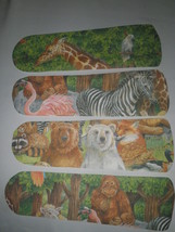 CUSTOM RAIN FOREST JUNGLE ANIMAL CEILING FAN~GIRAFFE FLAMINGO ZEBRA BEAR... - $99.99