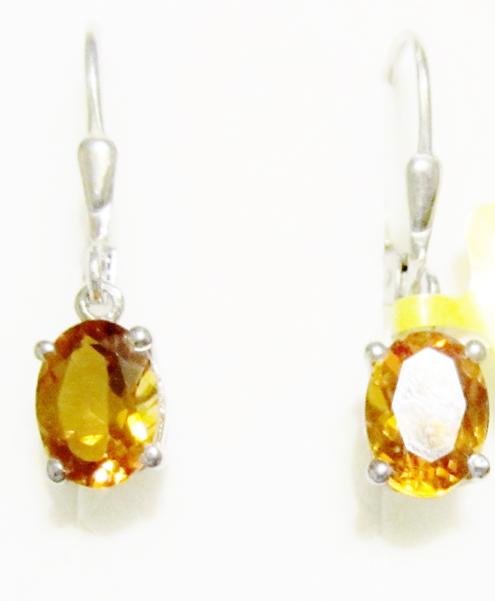 2.40 Ct Oval Orange Red Madeira Citrine 925 Sterling Silver 3-Stone Earrings