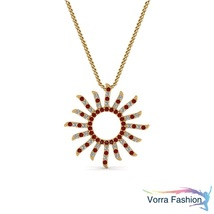 Sunflower Style Pendant W/ Chain 18k Gold Plated 925 Silver Diamond & Re... - £36.42 GBP