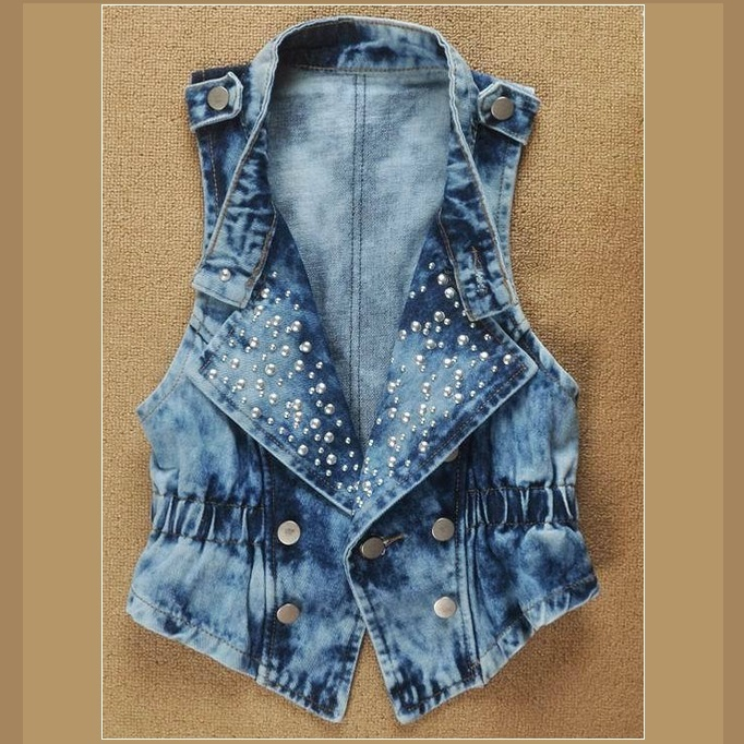 Retro Blue Jean Cotton Denim Rivet Studded Collar Sleeveless Biker Vest Jacket
