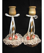 A Pair Of Vintage Embellished Wooden Candle Holders With A Heart Shaped ... - $7.75