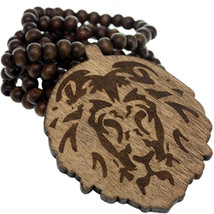 Brown Wooden Lion Head Beaded Necklace - $13.00