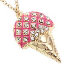 Pink Rhinestone Ice Cream Cone Chain Necklace - $9.99