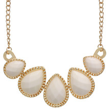 White Faceted Teardrop Chain Flat Necklace - $9.99